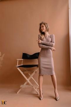 Облегающее платье в рубчик Domenica Р 2644