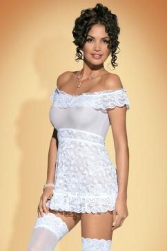 Белый эротический комплект Obsessive Flores chemise