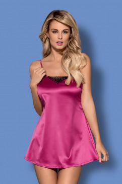 Нарядная розовая сорочка из атласа Obsessive Satinia babydoll