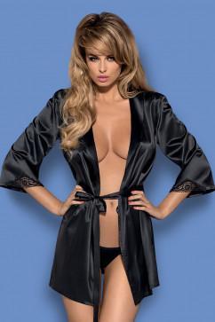 Мерцающий халатик из черного сатина Obsessive Satinia robe