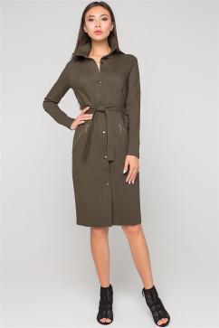 Офисное платье цвета хаки A-Dress 70993