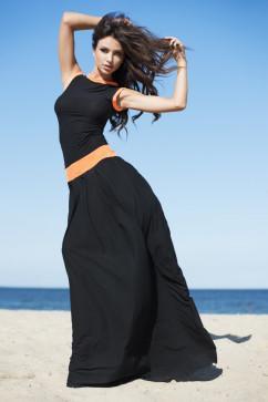 Красивое черное платье в пол Pigeon P-097