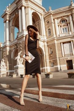 Платье-футляр с рукавами из сеточки Domenica Р 2368