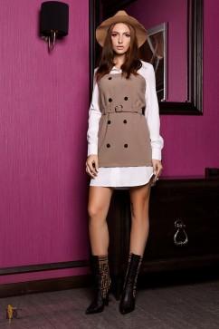Платье микс в деловом стиле Domenica Р 2315