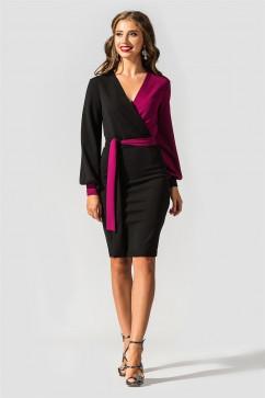 Платье нарядное двухцветное силуэтное TessDress Гера