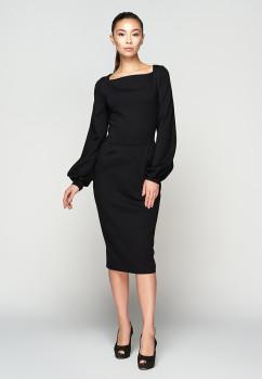 Приталенное изысканное черное платье из джерси A-Dress 706011