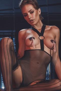 Прозрачное боди с открытой грудью Anais Esterni